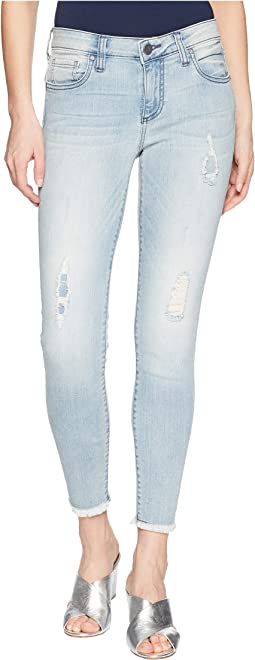 KUT from the Kloth - Connie Crop Skinny Jeans w/ Fray Hem in Esthetic/New Vintage Base Wash