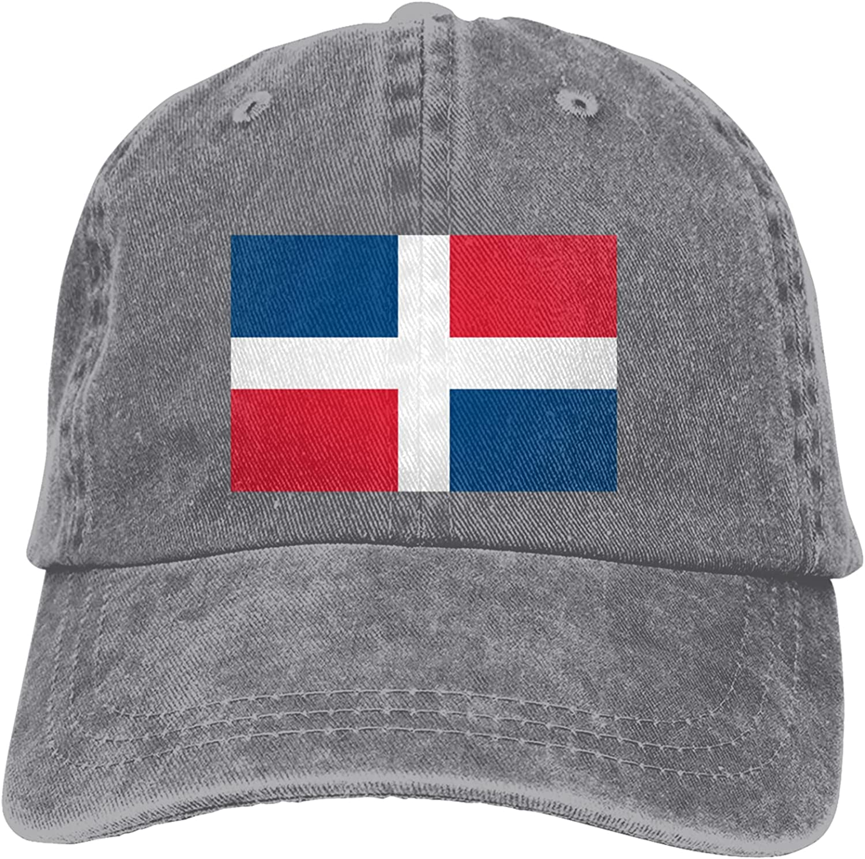 Dominican Republic Flag Cowboy Hats Adjustable Classic American Style Hat Sun Hat Baseball Cap for Men and Women Black