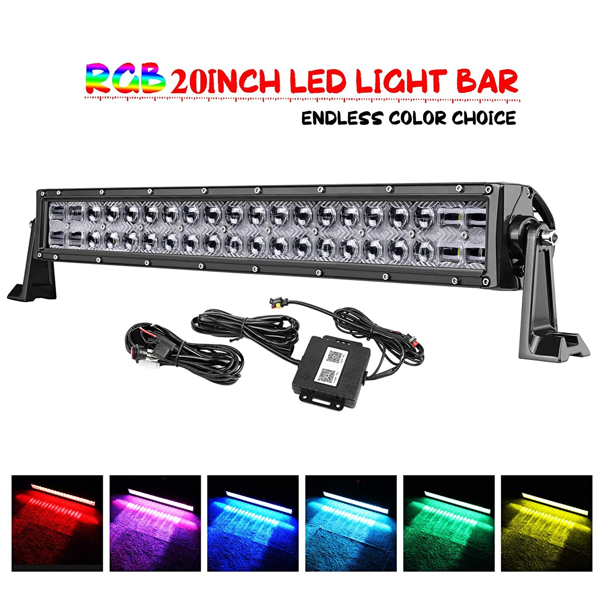 LED Light Bar, OFFROADTOWN 20'' 120W RGB Cree Led Work Light Bar 5D Off Road Color Changing Driving Lights Flood Spot Combo Beam Light Bar Bluetooth Lights with Wiring Harness Off road Truck Jeep ATV rj48727800415