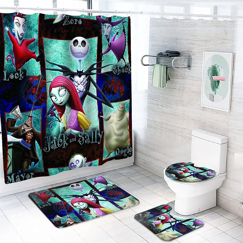 Dachangtui 4 Piece Halloween Shower R 休日 Curtain with 現品 Non-Slip Sets
