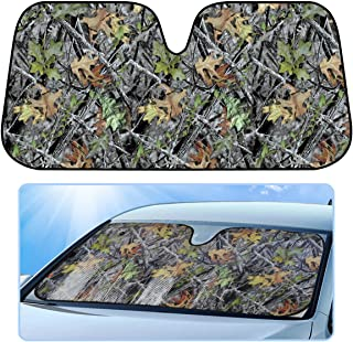BDK Camo Auto Windshield Sun Shade for Car SUV Truck - Forest Camouflage - Double Bubble Foil Jumbo Folding Accordion - AS-703_n
