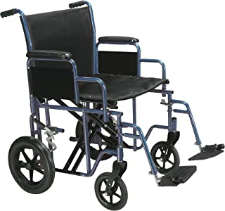 Drive Medical Bariatric Heavy Duty Transport Wheelchair   Swing-Away Footrest with 22-Inch seat   Blue