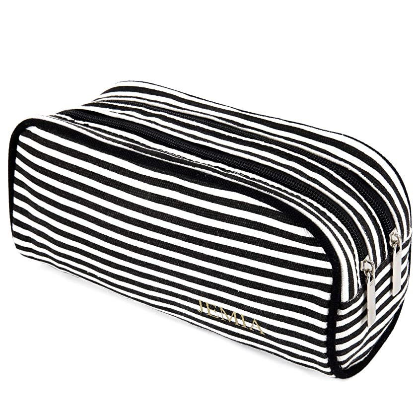 JEMIA - Black White Stripes Canvas Pencil Case with 2 Compartments Zipper Organizer Storage to Organize Office Stationary and Cosmetic Makeup Supply for Kid, Teen, Boy, Girl or Adult for Men, Women