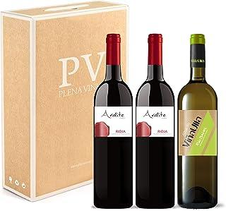 Vino tinto Rioja crianza 100% Tempranillo/Vino blanco Rías Baixas 100% Albariño Gallego dulce afrutado. Estuche 3 botellas (2 Ardite Rioja + 1 ViñaUlla Rias Baixas). Excelente pack mixto.