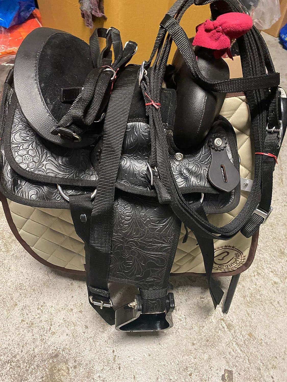 Countrypride NEW WESTERN SILLA PARA PONY Y SHETLAND HORSES SINTÉTICOS NEGRO