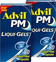 Advil PM Liqui-Gels (Two Pack of 80 Count - 160 Capsules) Pain Reliever/Nighttime Sleep Aid Liquid Filled Capsules, 200mg ...