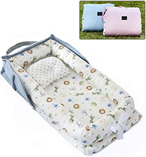AVSIL® Portable Baby Nest with Pillow, Newborn Baby Lounger with Foldable Bag (Blue)