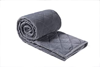 Finslep Minky Weighted Blankets | One Piece Design | Travel Small Blanket | Air Conditioner Duvet | Children Blanket | Good for A Better Sleep | Easy Clean | Glass Beads (Grey, 41