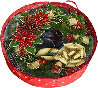 Isbasa Wreath Storage Bag, 36 Inches Water Resistant Xmas and Holiday Wreath Storage Container with Clear Window and Center Storage