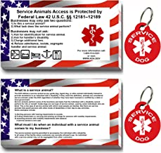 CNATTAGS Service Dog ID Tag Kit, 50 Double Sided ADA Information Cards and 2 Premium Aluminum Double Sided Dog Tags