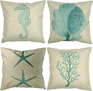 Luxbon Set of 4Pcs Nautical Decor Seaside Themed Cotton Linen Light Green Seahorse Coral Starfish Seaweed Throw Pillow Cases Sofa Couch Chair Decorative Cushion Covers 18