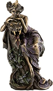 Top Collection French New Art Nouveau Lady and Beast Statue - Hand Painted Collectible Beautiful Lady Sculpture in Premium Cold Cast Bronze - 9-Inch Alphonse Mucha Figurine Collection