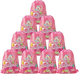 Cieovo 12 Pack Candyland Party Favor Goodie Bags, Treat Gift Drawstring Bag Lollipop Backpack Birthday Party Decoration fo...