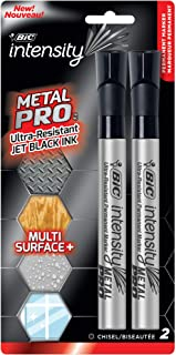 BIC Intensity Permanent Metal Pro Marker - Pack of 2 Markers – Chisel Tip, Fade and Water Resistant, Quick Dry Ink for Any...