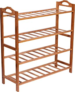 Haneez 4-Tier Solid Wooden Shoe Rack, Chappal Stand,Storage Rack, Shelves for Entryway, Balcony, Kitchen and Bathroom