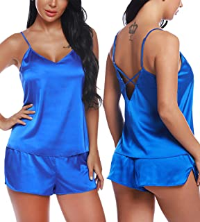 RSLOVE Women V Neck Sexy Lingerie Satin Sleepwear Pajamas Cami Shorts Set Nightwear…