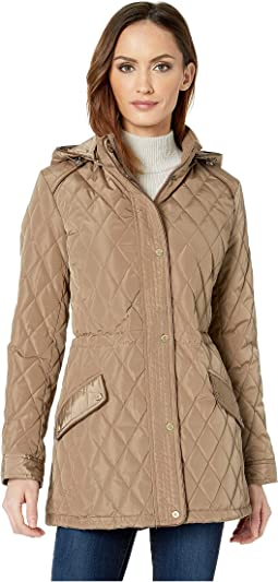 Faux Leather Trim Quilted Anorak