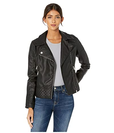 YMI Snobbish Faux Leather Jersey Lined Moto Jacket (Black) Women