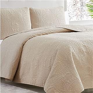 Mellanni Bedspread Coverlet Set Beige - Comforter Bedding Cover - Oversized 3-Piece Quilt Set (King/Cal King, Beige)