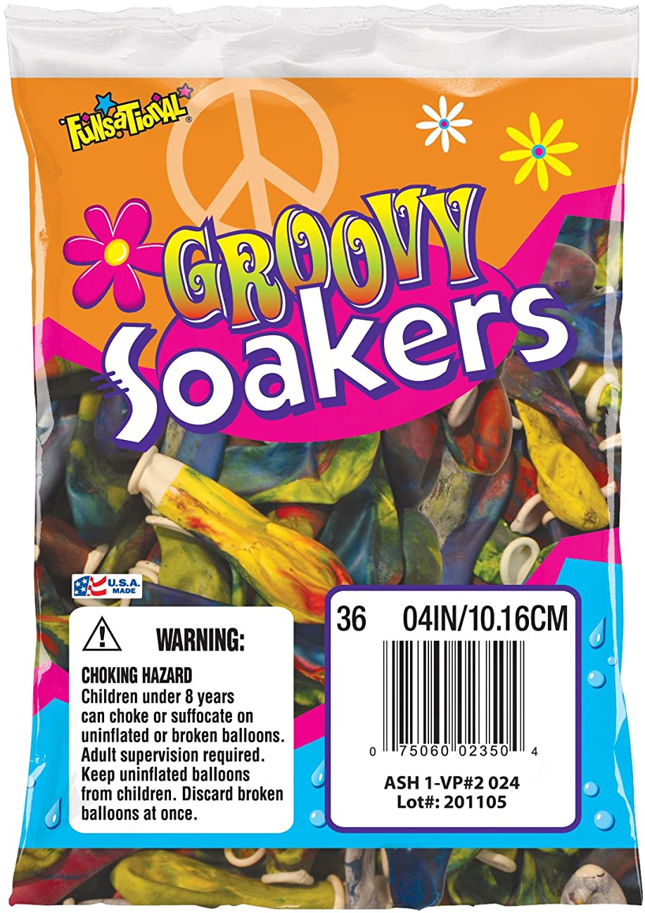 Funsational Latex Groovy Soakers Water Balloons, 36-Count