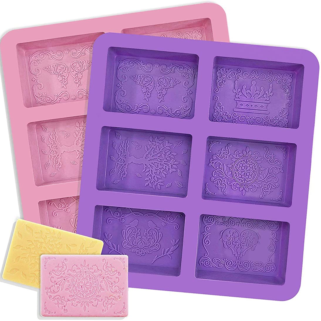 YGEOMER Rectangle Silicone Soap Molds, 2pcs 6 Cavities Molds, 12 Mixed Patterns, for Making Soaps, Ice Cubes