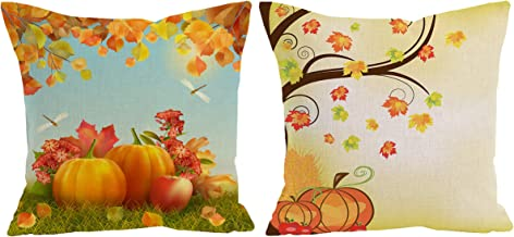 ShineSnow 2-Pack Thanksgiving Harvest Autumn Pumpkin Apple Dragonfly Maple Fall Leaves Throw Pillow Cushion Cover Case 18 x 18, Cotton Linen Square Zippered Pillowcase for Sofa Bed Home Decor