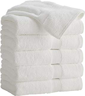 HomeLabels 100% Cotton 6 Pack White Bath Towels 22x44 for Hotel Spa Gym Pool Yoga - Lightweight Soft Absorbent Quick Drying - Multipurpose Pool Gym Bath Towel Set