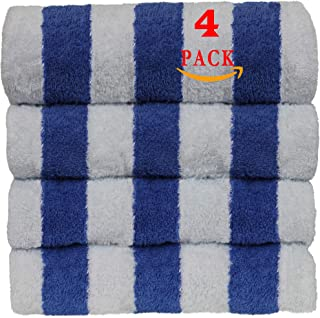 Luxury Hotel & Spa Towel 100% Egyptian Cotton Pool Beach Towels - Cabana - Blue - Set of 4