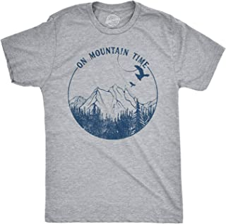 Mens On Mountain Time T Shirt Cute Hiking Camping Gift Happy Camper Tee for Guys