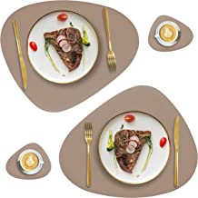 Faux Leather Placemats and Coasters Set of 2, Round Leather for Dinner Table Mats Heat Resistant Non-Slip Washable Insulat...