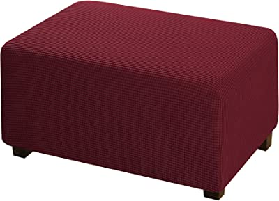 Furniture Protector Soft Rectangle Slipcover with Elastic Bottom Jacquard Polyester Stretch Ottoman Cover Folding Storage Stool for Living Room - Wine