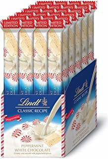 Lindt Classic Recipe Stick, Holiday White Chocolate Peppermint, Gluten Free, Great for Holiday Gifting, 24 Count Box