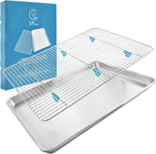 """Baking Sheet with Cooling Rack Set - (18"""" x 13"""" Pan / 16.8"""" x 11.8"""" Rack) Heavy-Duty Aluminum Cookie Half Sheets Oven Tray with Stainless Steel Roasting Wire - Includes Silicone Feet for Cooking Racks"""