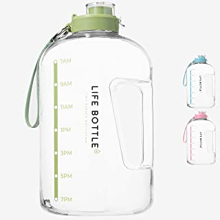 Life Bottle! Time-Marked Water Bottle-1 Gallon Water Bottle with Time Marker-Extra Large Water Bottle/Water Jug Helps You Drink More Water! BPA Free Water Bottle with Flip Top