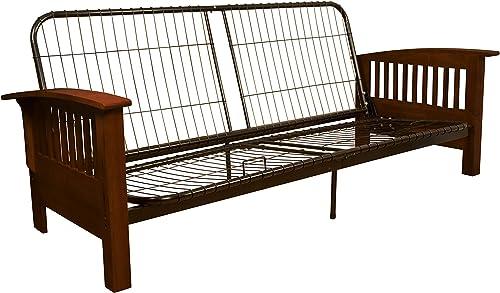 Brentwood Mission-Style Futon Sofa Sleeper Bed Frame, Full-size, Walnut Arm Finish