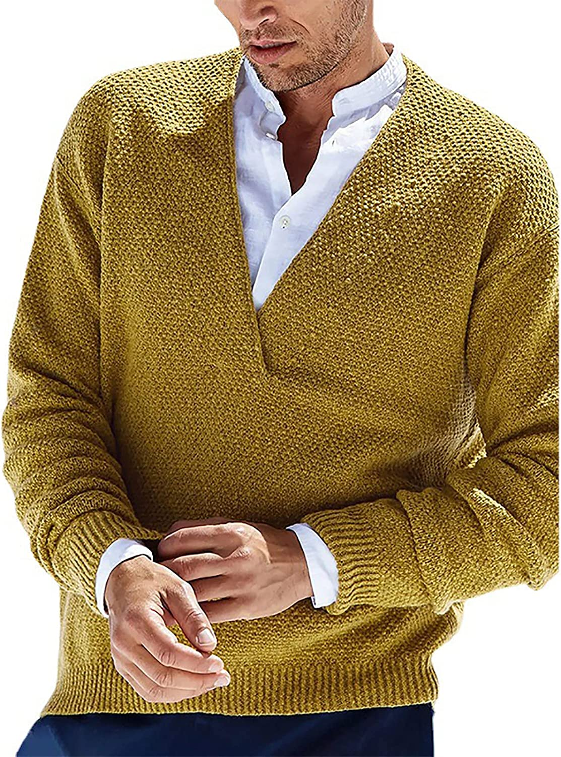 Sinzelimin Men's Knitwear Sweater Fashion V-Neck Solid Color Slim Fit Pullover Knitted Bottoming Sweater Henley Sweater