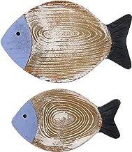 ULTNICE 2pcs 3d Farmhouse Rustic Fish Wood Wall Art for Coastal Nautical Beach or Boat Decor Wood Wall Hanging Sculptures ...