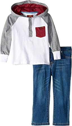Long Raglan Sleeve Heavyweight Jersey Hoodie and Denim Jeans (Toddler)