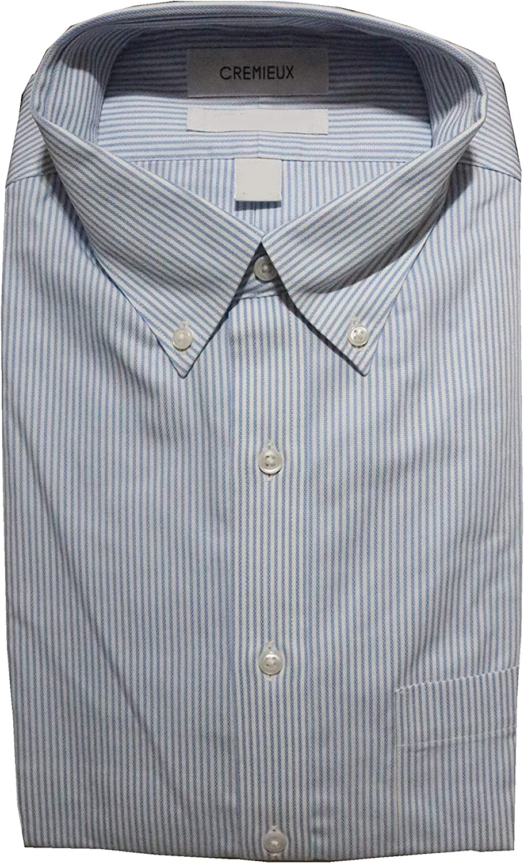 Cremieux Non Iron Classic Fit Stripe Button Down Dress Shirt C16A0014 Blue/White