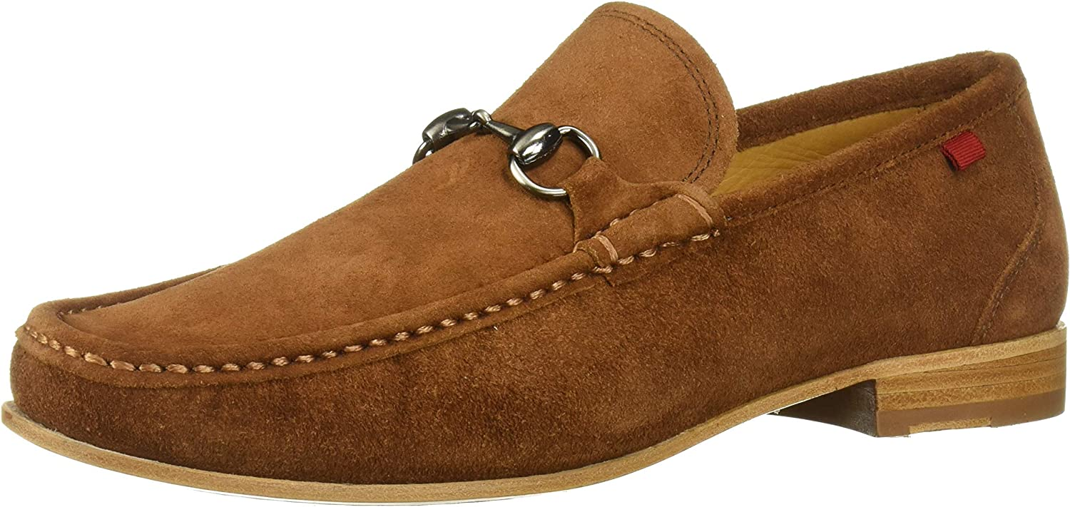 MARC JOSEPH NEW YORK Mens Gold Collection Leather Sole Buckle Loafer, Cognac Suede, 13 M US