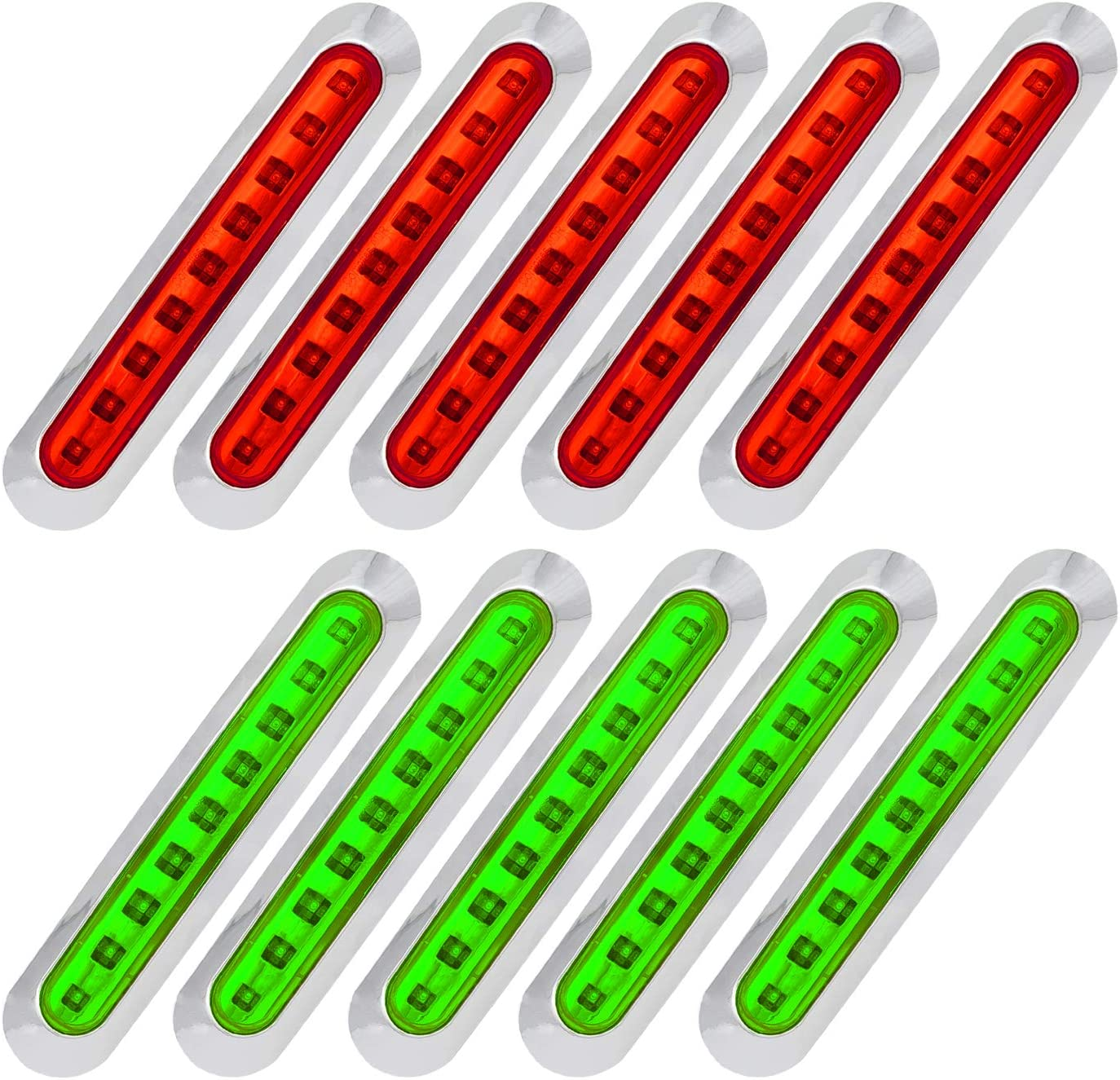 Meerkatt Ranking TOP15 Pack of 10 7 Inch Long Flush Mount SM Red wholesale 5 + Green