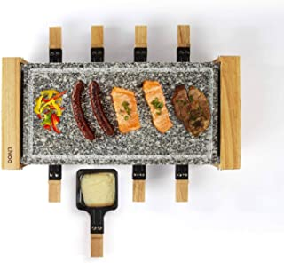 Raclette Grill 8 personas Grillplatte Tischgrill Elektrogrill Heißer piedra (8 sartenes, 1200 vatios, Granitplatte desmontables, madera, Party Grill)