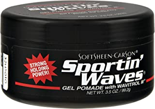 Soft Sheen Sportin Waves 3.5 Ounce Gel Pomade/Wavitrol Jar (103ml) (3 Pack)