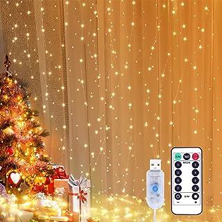 Yizhet Lichtervorhang 3x3m LED Lichterkette LED Lichterkettenvorhang mit 8 Modi, 300LEDs, IP65 Wasserdicht Deko für Weihna...