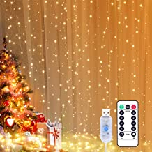 Yizhet Kurtyna świetlna 3 x 3 m LED, łańcuch świetlny z 8 trybami, 300 diod LED, IP65, wodoszczelna dekoracja na Boże Naro...