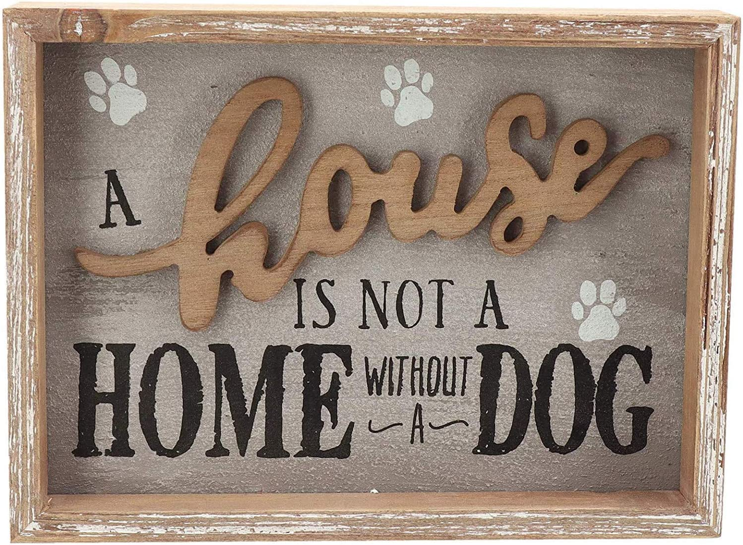 Rustic Wood Dog Sign Home Decor - A House is Not A Home Without A Dog, Funny Dog Sign for Home Decor, 9.5 X 1.5 X 7 inch
