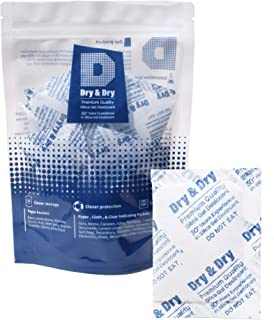 Dry & Dry 10 Gram [50 Packets] Premium Pure & Safe Silica Gel Packets Desiccant Dehumidifier - Rechargeable Fabric Silica Packets for Moisture Absorber