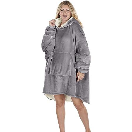 Oversized Hoodie Blanket Women Ultra Plush Fleece with Soft Sherpa Reversible Warm Cosy Comfy Wearable Hooded Giant Sweatshirt Throw for Girls Adults Men Boys Kids Big Pocket