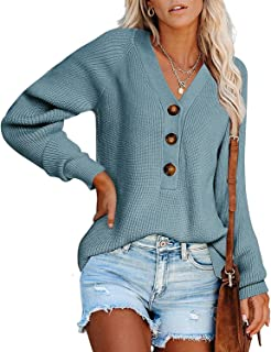 BTFBM Women Long Sleeve V Neck Button Down Sweater Solid Color Ribbed Knit Sweater Casual Relaxed Fit Pullover Jumper