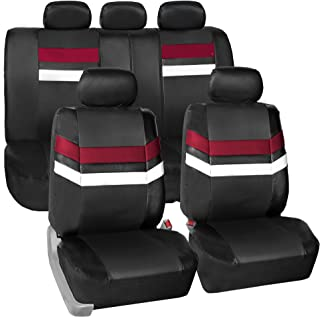 FH Group Leather Full Set Seat Covers Burgundy Airbag Safe PU006BURGUNDY115 & Split Bench Ready